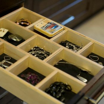 Custom made cabinet accessory – divided drawer for jewelry or crafting
