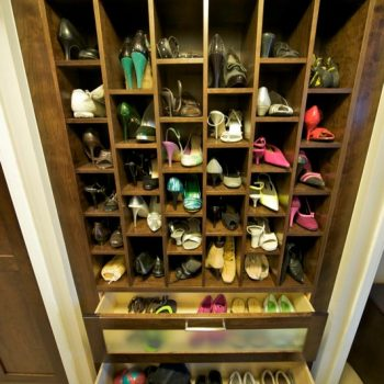 Cherry Shoe Storage with Etched Glass Drawer Fronts