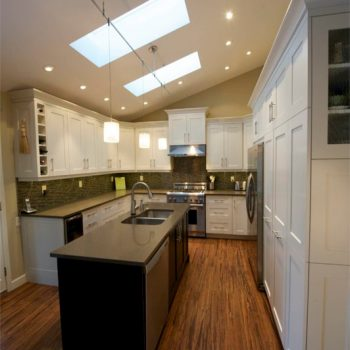 Nice Full Shot Of The Finished Kitchen With Elegant White Laquer Shaker Style  Cabinets Lining The ...