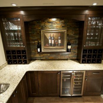 Calgary Custom Bar With Dark Oak and Marble 2