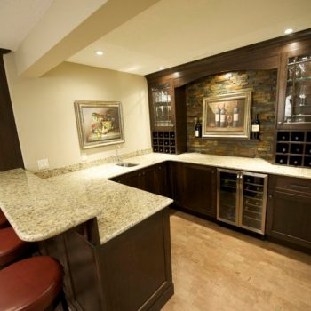 Calgary Custom Bar With Dark Oak and Marble