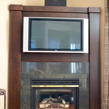 Calgary Custom Dark Oak TV and Fireplace