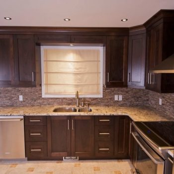 Calgary Kitchens and Cabinets Dark Oak and Stone