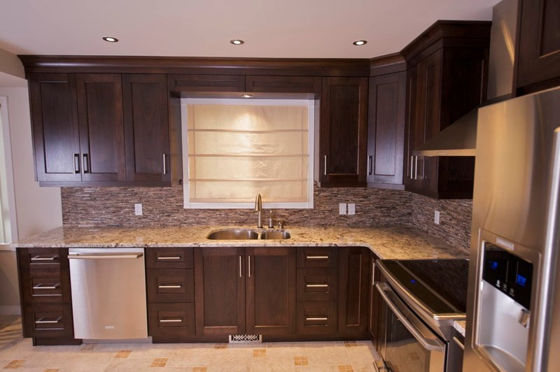 Calgary Kitchens and Cabinets Dark Oak and Stone - Evolve Kitchens