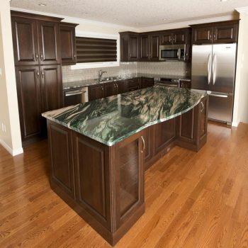 Custom Kitchen Calgary Dark Oak and Green Marble