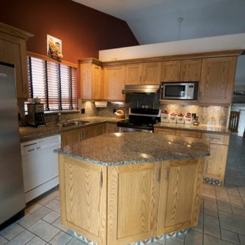 Custom Kitchen Calgary marble and oak