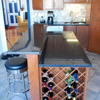custom kitchen island and wine rack