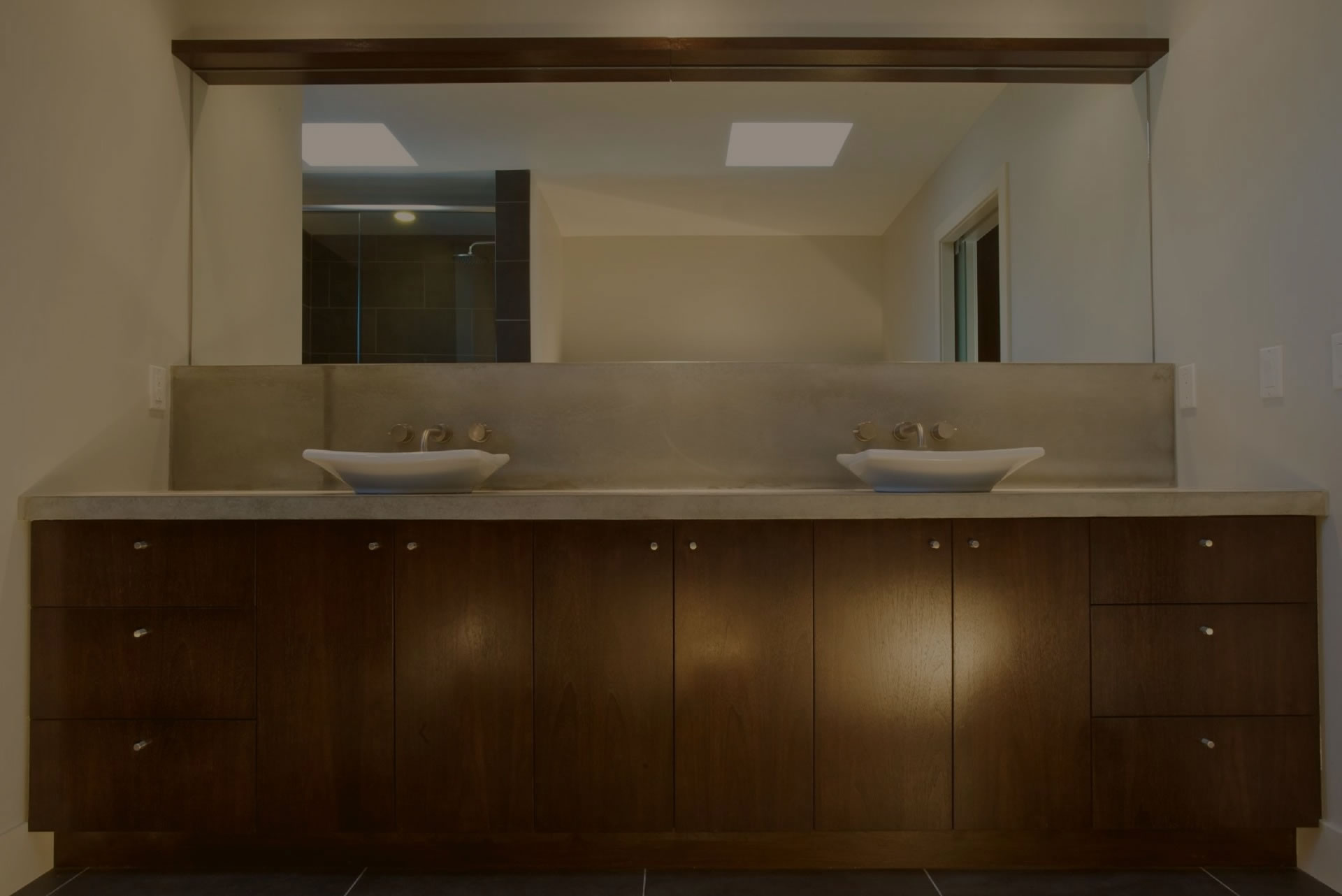 Modern custom bathroom cabinets made by Evolve Kitchens